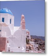 Santorini Oia Blue Domed Church Metal Print