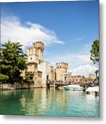 Scaligero Castle At The Entrence Of The Sirmione Medieval Town Metal Print