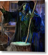 Scary Old Witch With A Cauldron Metal Print