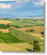 Scenic Tuscany Landscape At Sunset, Val D'orcia, Italy Metal Print