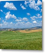 Scenic Tuscany Landscape With Rolling Hills In Val D'orcia, Ital Metal Print