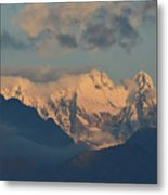 Scenic View Of The Dolomites Mountains With A Cloudy Sky  Metal Print