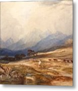 Scottish Landscape With Drover And Cattle Metal Print