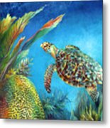 Sea Escape Iv - Hawksbill Turtle Flying Free Metal Print