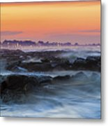Sea Storm At Sunset Metal Print