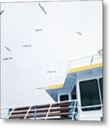 Seagulls Over Ferry Boat Metal Print