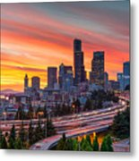 Seattle On Firer Metal Print