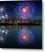 Seattle Skyline And Fireworks Metal Print