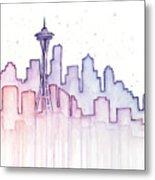 Seattle Skyline Watercolor Metal Print