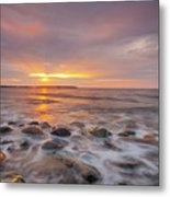 Seawall Sunrise Metal Print