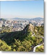 Seoul City Wall From Inwangsan Mountain In South Korea Capital C Metal Print
