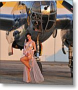 Sexy 1940s Pin-up Girl In Lingerie Metal Print