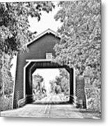 Shimanek Covered Bridge -surreal Bw Metal Print