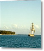 Ship Off The Bow Metal Print