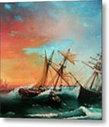 Ships In A Storm At Sunset Metal Print