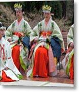 Shrine Maidens From Tsurugaoka Hachimangu Shrine Metal Print