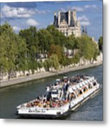 Sightseeing Boat On River Seine To Louvre Museum. Paris Metal Print
