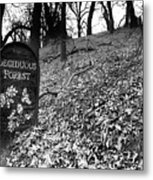 Sign In The Forest Metal Print