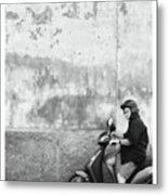 Signora Black And White Metal Print by Marco Hietberg