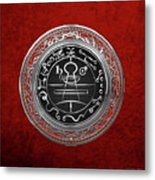 Silver Seal Of Solomon - Lesser Key Of Solomon On Red Velvet  Metal Print