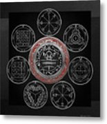 Silver Seal Of Solomon Over Seven Pentacles Of Saturn On Black Canvas  Metal Print