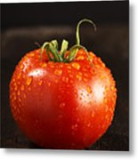 Single Fresh Tomato With Dew Drops Metal Print