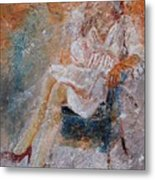 Sitting Young Girl Metal Print