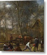 Skittle Players Outside An Inn Metal Print