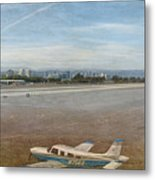 Small City Airport Plane Taking Off Metal Print
