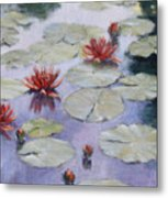 Smooth Sailing - Lilies In Monets Garden Metal Print