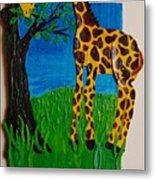 Snack Time For Giraffe Metal Print