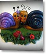 Snails In Love Metal Print by Trina Prenzi