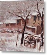 Snow On The Farmhouse Metal Print