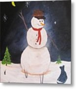 Snowman And Cat Metal Print