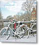 snowy Amsterdam in the Netherlands Metal Print