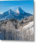 Snowy Church In The Bavarian Alps In Winter Metal Print