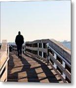 Solitary Man Walks Metal Print