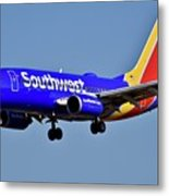 Southwest Airlines Airplane In Flight Metal Print