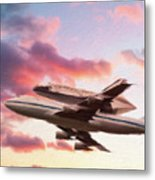 Space Shuttle Discovery Flies Off Into Retirement Metal Print