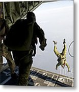 Special Operations Jumpers Exit A C-130 Metal Print
