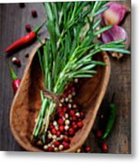 Spices On A Wooden Board Metal Print