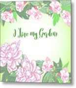 Spring  Background With White And Pink Peony Metal Print