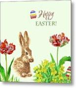 Spring Rabbit And Flowers Metal Print