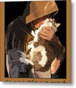 St. Francis With Cat Metal Print