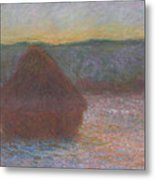 Stack Of Wheat, Thaw, Sunset Metal Print