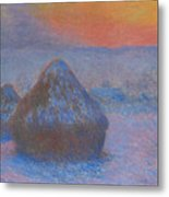 Stacks Of Wheat, Sunset, Snow Effect Metal Print