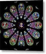 Stained Glass Rose Window In Lisbon Cathedral Metal Print