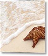Starfish And Ocean Wave Metal Print