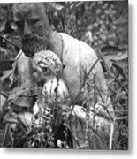Statue In Flowers Metal Print