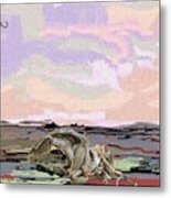 Statue Of A Horse From Branches Metal Print